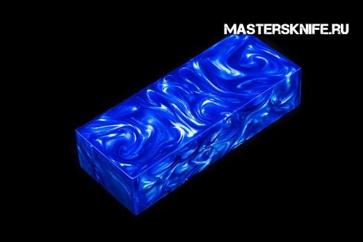 АК22 Брусок для рукояти: акриловый композит - сине-белый перламутр