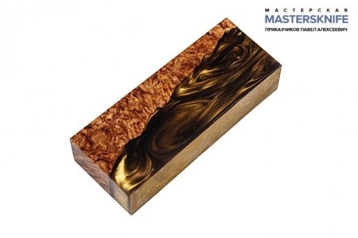 АК29 Брусок для рукояти гибрид: акриловый композит(золото-бронза) и стаб. карельская береза