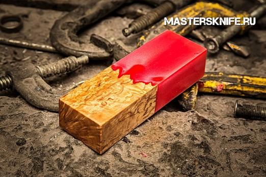 АК41 Брусок для рукояти гибрид: акриловый композит(красный перламутр) и стаб. карельская береза