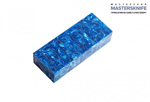 АК20 Брусок для рукояти: акриловый композит - синий перламутр с крупной стружкой