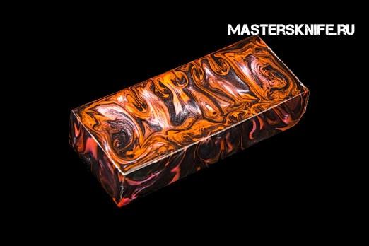 АК62 Брусок для рукояти: акриловый композит - черно-оранжевый перламутр