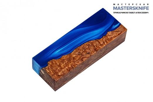 АК26 Брусок для рукояти гибрид: акриловый композит(синий перламутр) и стаб. карельская береза