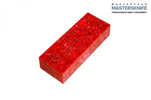 АК4 Брусок для рукояти: акриловый композит - красный с мелкой стружкой