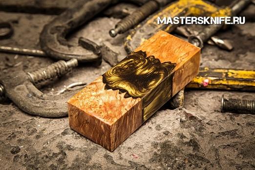 АК38 Брусок для рукояти гибрид: акриловый композит (золото перламутр) и стаб. карельская береза