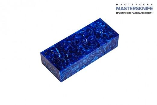 АК19 Брусок для рукояти: акриловый композит - синий перламутр с мелкой стружкой