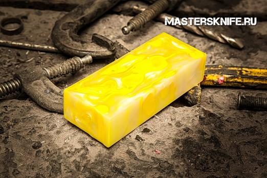 АК55 Брусок для рукояти: акриловый композит - жёлтый-белый перламутр