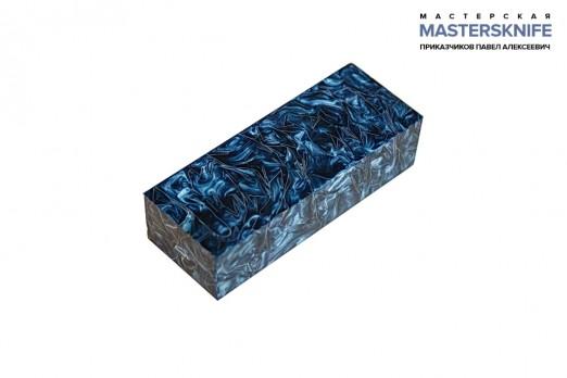 АК12 Брусок для рукояти: акриловый композит - синее серебро с крупной стружкой