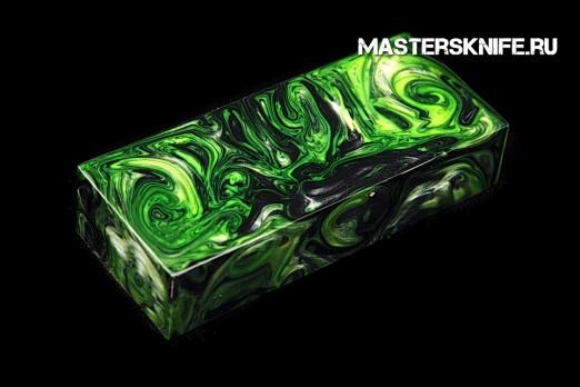 АК63 Брусок для рукояти: акриловый композит - черно-бело-зеленый перламутр