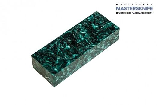 АК14 Брусок для рукояти: акриловый композит - зеленое серебро с крупной стружкой