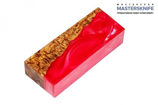 АК31 Брусок для рукояти гибрид: акриловый композит(красный перламутр) и стаб. карельская береза