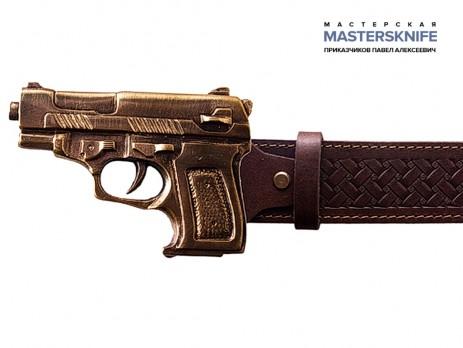 Ремень поясной из натуральной кожи Пистолет
