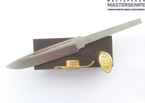 Комплект для сборки Финки НКВД (клинок из 95Х18, литье латунь, черный граб) ГРИНДЕР